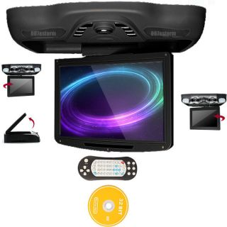 "Black HD 12 1"" Drop Down Car DVD Player Stereo Radio TV USB SD Free Game Disc X1"