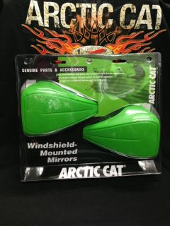 New Arctic Cat Snowmobile Green Windshield Mounted Mirror Kit w Mounts 2639 168