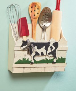 Cow Farm Country Kitchen Decorative Wooden Wall Bin Utensil Mail Holder New