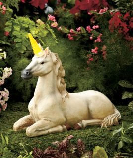 Solar Power Lighted Mythical Unicorn Statue Accent Garden Yard Porch Deck Lawn