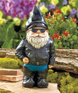 Biker Chopper Rebel Novelty Gnome Statue Outdoor Garden Yard Lawn Deck Decor New