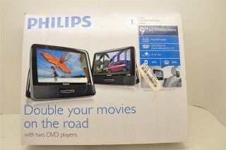 """Philips PD9016 37 9"""" Dual LCD Screen Portable Car DVD Player"""