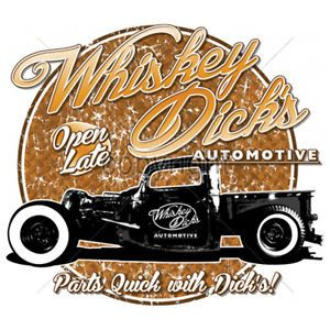 Whiskey Dick's Automotive Parts Hot Rod Car Cool T Shirt Tee Funny