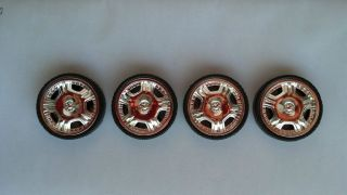 "24"" inch Chrome 5 Spoke Wheels Donk Tires Rims 1 24 1 25 Scale Model Car Kit"