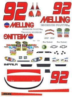 92 Brian Keselowski Melling Engine Parts 2011 1 32nd Scale Slot Car Decals