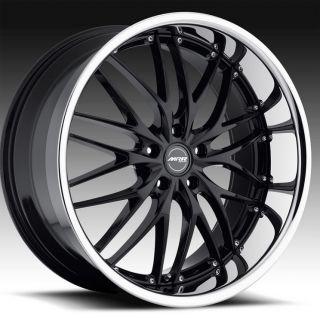 "22"" MRR GT1 Wheels Black BMW 7 Series 745 750 E65 E66 Staggered Mesh Lip GT 1"