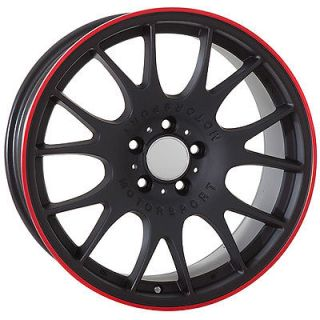 18 inch Audi Wheels Rims Black Red Stripe BBs Style