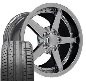 "17"" 18"" 9 5 10 5 Corvette C6 Rivet Chrome Wheels Conti Tires Rims Fit Camaro"