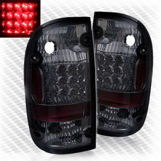 Smoked 01 04 Toyota Tacoma LED Tail Lights Rear Smoke Brake Lamps Pair Set Light