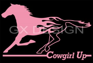 Horse Decal Sticker Cowgirl Up Flame Horse Vinyl Decal