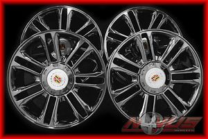 "New 22"" Cadillac Platinum Escalade Chevy Tahoe GMC Black Chrome Wheels Tires 20"