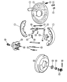 Brake Shoe Shoe and Lining Kit Genuine Mopar 4883833AA Chrysler Dodge Plymouth
