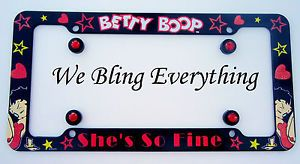 License Plate Frame Betty Boop Bling Screw Covers