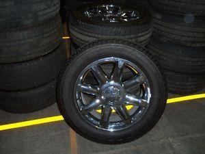 "GMC Yukon Denali Take Off Wheels Tires 20"" Chrome Bridgestone Tires Takeoffs"