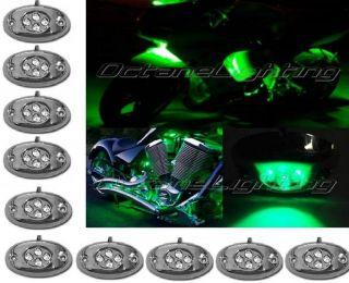 10pc Green LED Chrome Modules Motorcycle Chopper Frame Neon Glow Lights Pod Kit