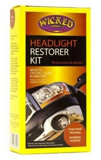 Headlight Restorer Kit Wicked Products Car Care Restoration Yellow Detail 73200