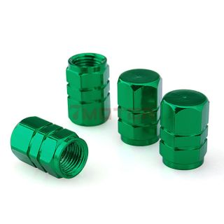Green 4pcs Tire Rim Wheel Valves Caps Cover Car Truck Motocycle Stems Chrome