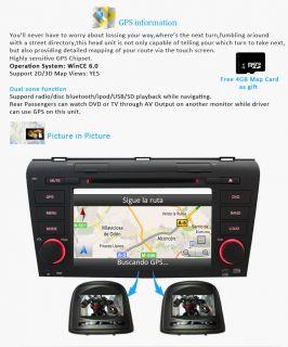 New in Dash Car Radio DVD CD MP3 Player GPS Navigation iPod for Mazda 3 04 09