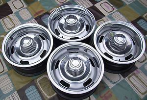 Chevy Camaro Rally Wheels 14 x 6 DG XG Codes Rings and Centers Set