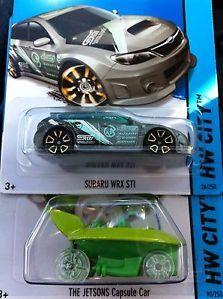 Hot Wheels 2014 Treasure Hunt Subaru WRX STI and The Jetsons Capsule Car