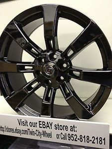 22 inch Black Chrome PVD Cadillac Escalade OE Factory Wheels GM Accessory Rims