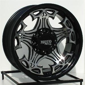 17 inch Black Wheels Rims Chevy Dodge RAM HD 2500 3500 8 Lug Truck Skulls 909
