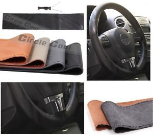 New Leather Steering Wheel Wrap Cover 43011 Black Hummer Fiat Car Needle Thread