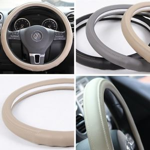 """Leather Steering Wheel Cover 58007 Beige Hummer Fiat Car SUV 14"""" 15"""" 38cm Truck"""