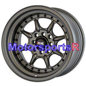 15 15x9 XXR 002 Flat Gun Metal Wheels Rims Deep Dish Stance 89 Nissan 240sx S13