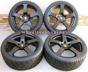 "22"" Porsche Panamera 5 Star Style Wheels Rims Tires Matte Black New"