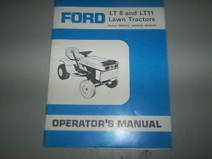 Ford LT8 Ford LT11 Lawn Garden Tractor Operator Manual Parts List