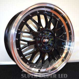 "New 17x7 5 17"" 601 Black Str Racing Wheels Rims Set Nissan Scion Toyota VW"
