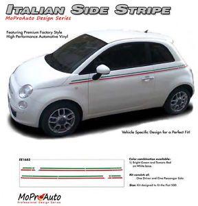 Body Line Thin Red Green Italian Stripe Vinyl Graphic Decal 2011 2014 Fiat 500