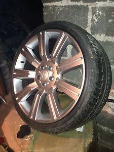 "22"" inch Stormer II Wheels Rims Tire Package Range Rover Silver Powder Coat"