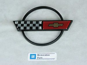 New 1984 1990 C4 Corvette Gas Fuel Door Emblem Metal GM Restoration Parts