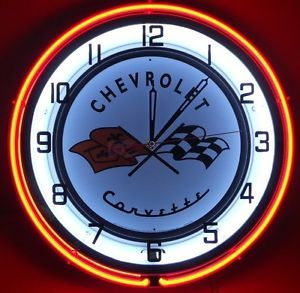 "Chevy Corvette 18"" Dual Neon Light Clock Parts Emblem Logo Garage Sting Ray Sign"