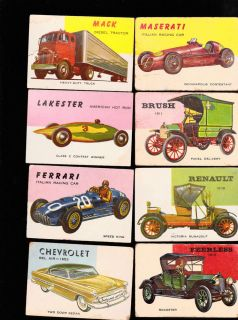 World on Wheels Topps 1953 Trading Card Lot of 14 Maserati Ferrari Chevrolet