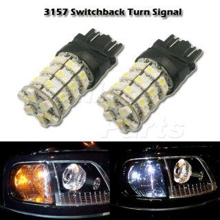 2X Amber White 3157 3457 3357 Switchback 60 3528 SMD LED Turn Signal Light Bulb