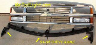 94 95 96 97 98 00 Chevy GMC Truck 3pc Bumper Filler Kit
