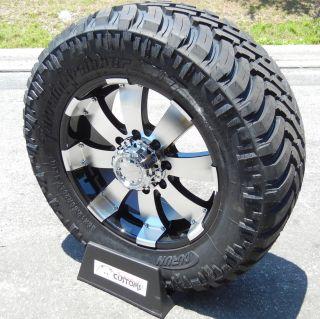 """20"""" Black Ultra Wheels LT325 60 20 Durun M T Tires Chevy GMC 2500 3500 8x180"""
