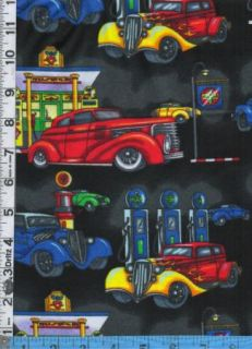 Fabric Fabriquilt Flannel Antique Cars Hot Rods Flames Gas Pumps Retro