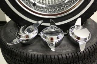 "13"" Dayton Style Reverse 100 Spoke Wire Wheels White Wall Tires"