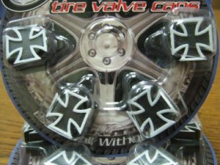 4 Black Iron Cross Valve Stem Caps Covers SUV Hot Rod Rat Rod Car Truck