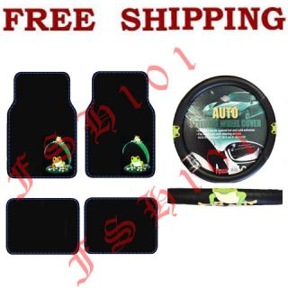 New Green Frogs Car Truck Carpet Floor Mats Steering Wheel Cover Set