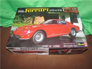"1965 Ferrari 275 GTB Revell 1 12 Model Kit 16"" Long Unassembled SEALED Parts"