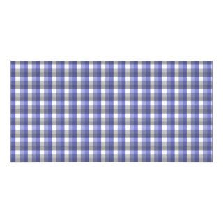 Gingham check pattern. Blue, Gray, White. Photo Cards