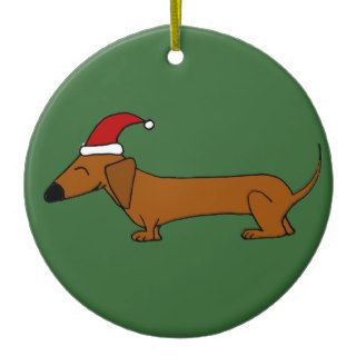 Funny Dachshund in Santa Hat Christmas Cartoon Ornament