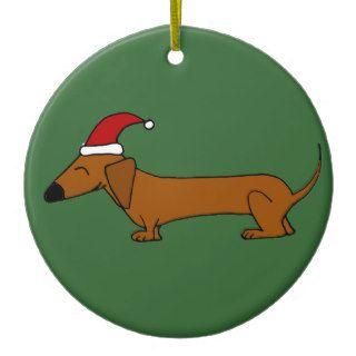Funny Dachshund in Santa Hat Christmas Cartoon Ornament
