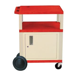 H Wilson 34 Plastic Utility Cart With Locking Cabinet And Big Wheel Kit Red