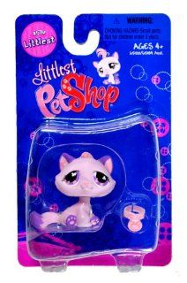 "Hasbro Year 2007 Littlest Pet Shop Single Pack ""Littlest"" Series Bobble Head Pet Figure Set #576   Lavender Purple KITTY CAT with Necklace (#65120) Toys & Games"